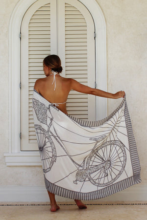 Lotty B Sarong in Silk Crepe-de-Chine: BICYCLE - BLACK & WHITE back