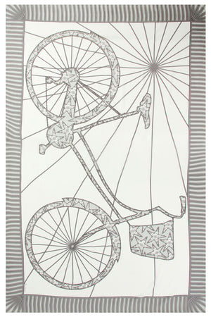Lotty B Sarong in Silk Crepe-de-Chine: BICYCLE - BLACK & WHITE