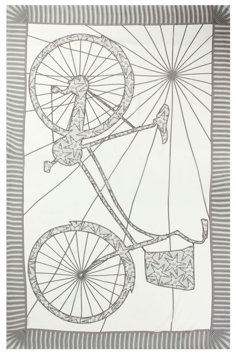 Lotty B Sarong in Silk Crepe-de-Chine: BICYCLE - BLACK & WHITE Mustique life