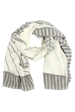 Lotty B Sarong in Silk Crepe-de-Chine: BICYCLE - BLACK & WHITE scarf