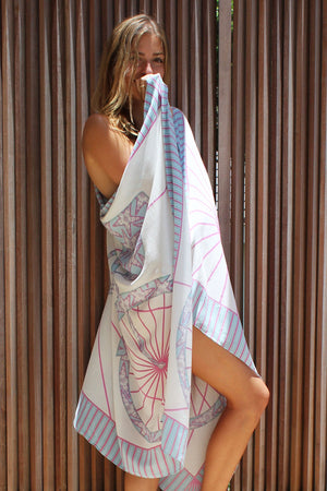 Lotty B Sarong in Silk Crepe-de-Chine: BICYCLE - PINK Mustique life