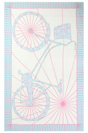 Lotty B Sarong in Silk Chiffon: BICYCLE - PINK