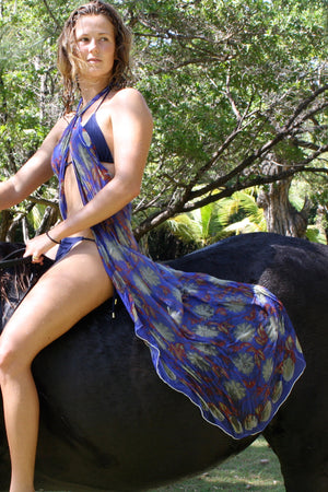 Lotty B Sarong in Silk Crepe-de-Chine (Passion Fruit Navy) On a Horse