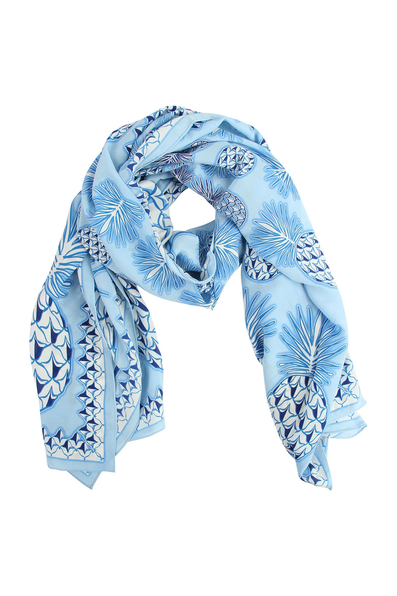Lotty B Sarong in Silk Crepe-de-Chine: PINEAPPLE - BLUE rolled scarf