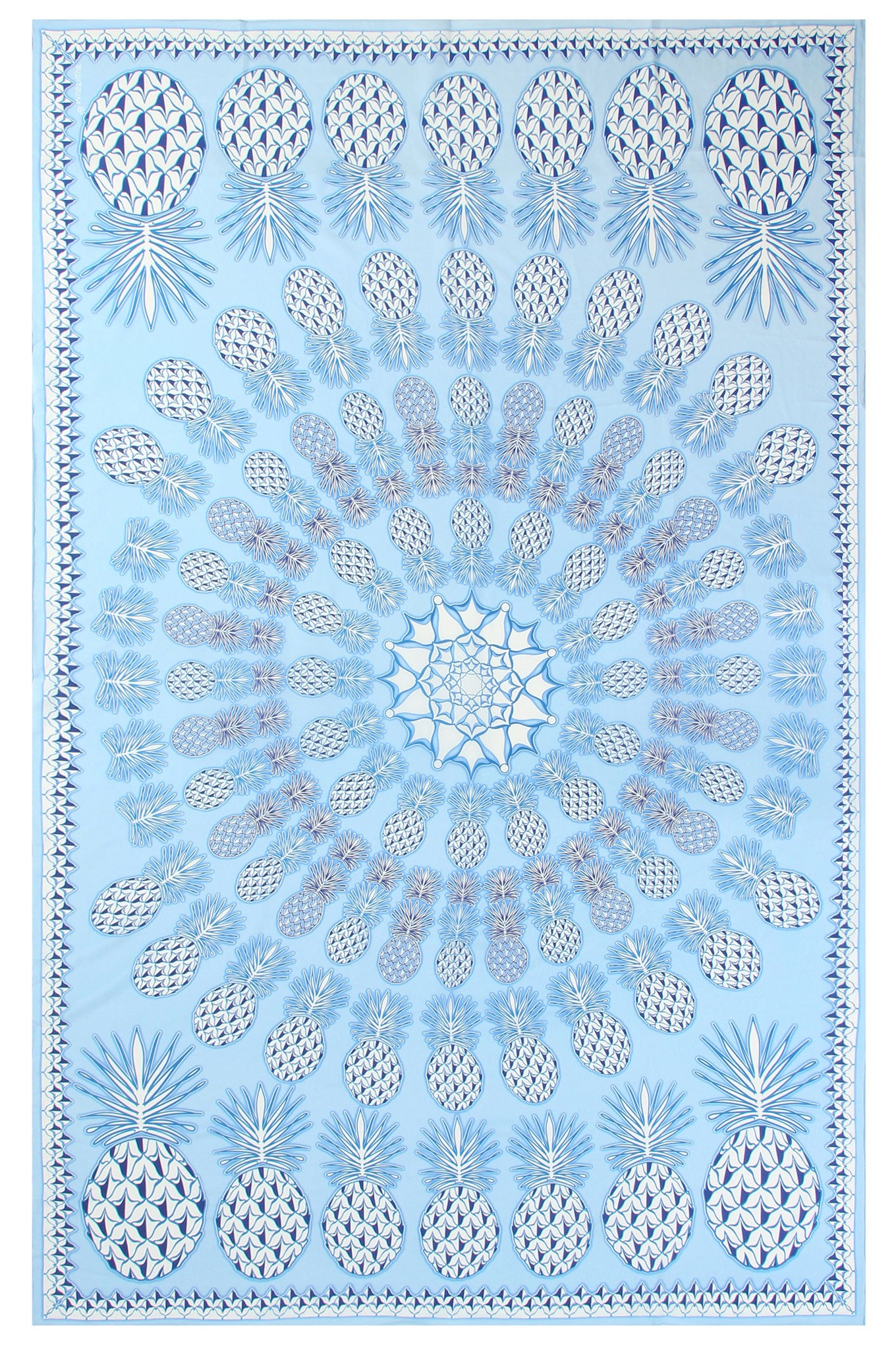 Lotty B Sarong in Silk Crepe-de-Chine: PINEAPPLE - BLUE