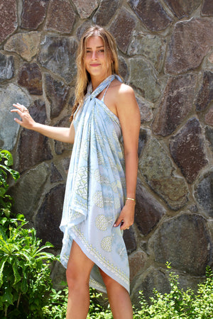 Lotty B Sarong in Silk Crepe-de-Chine: PINEAPPLE - OLIVE Mustique life