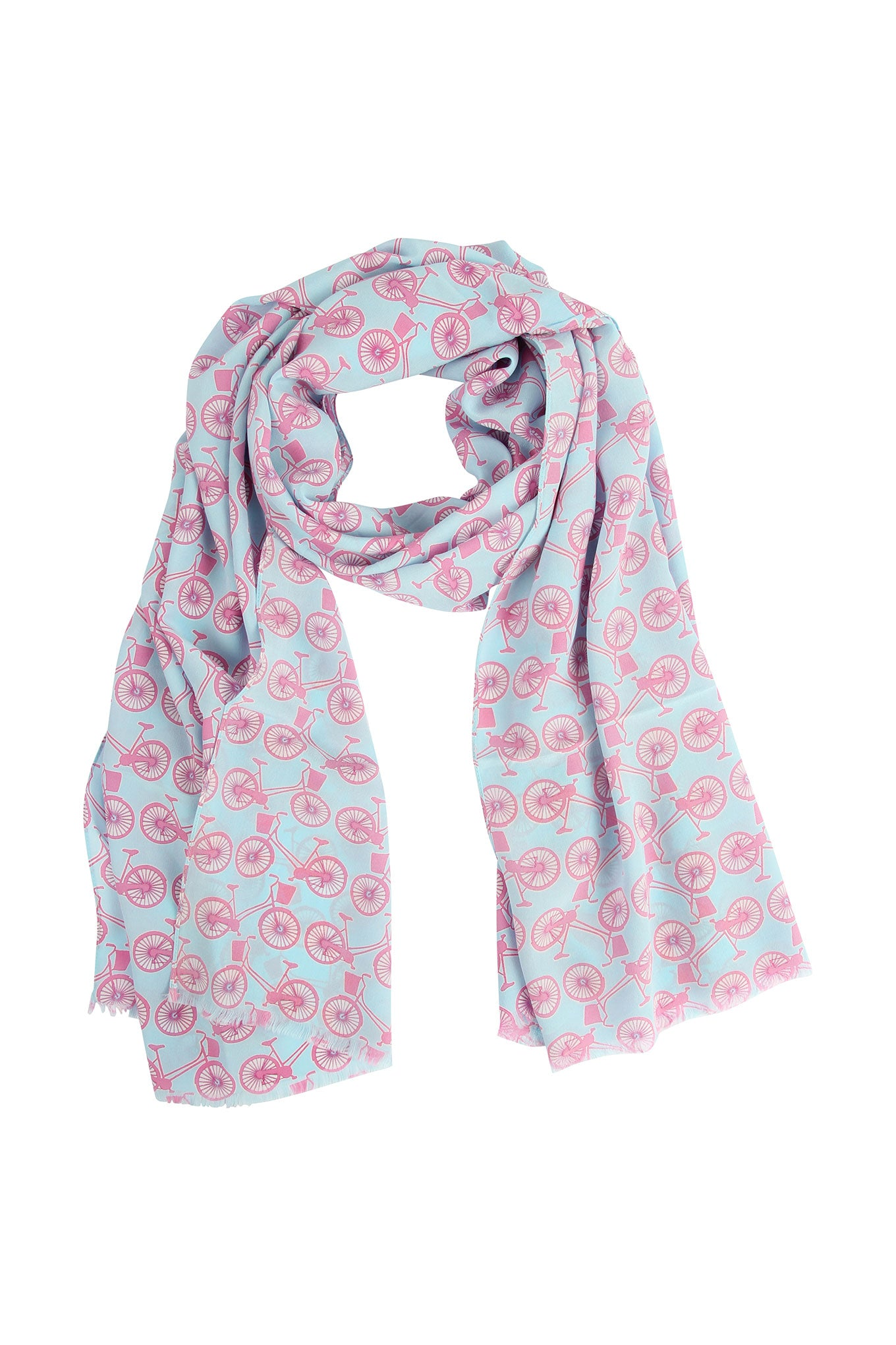 Lotty B Silk Crepe-de-Chine Long Scarf BICYCLE REPEAT - PINK