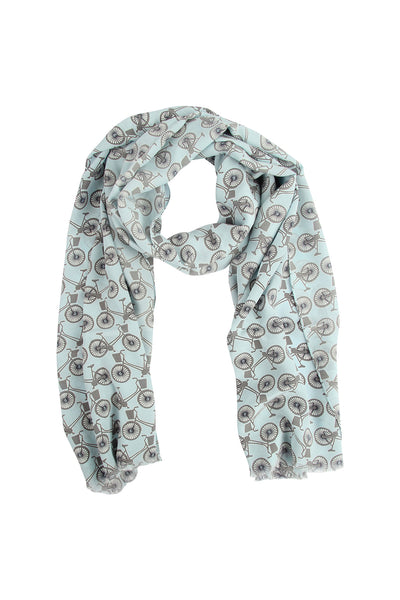 Lotty B Silk Crepe-de-Chine Long Scarf BICYCLE REPEAT - BLACK & PALE BLUE
