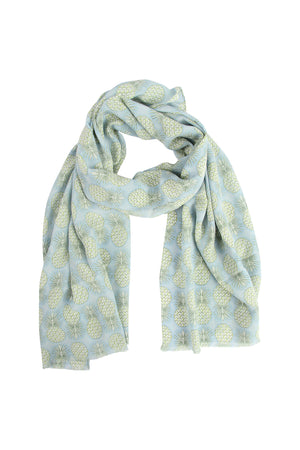Lotty B Silk Crepe-de-Chine Long Scarf PINEAPPLE REPEAT - OLIVE