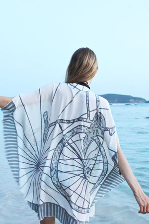 Lotty B Short Kaftan in Silk Crepe-de-Chine: BICYCLE - CHARCOAL back Mustique dusk