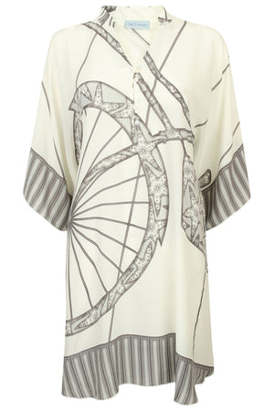 Lotty B Short Kaftan in Silk Crepe-de-Chine: BICYCLE - CHARCOAL
