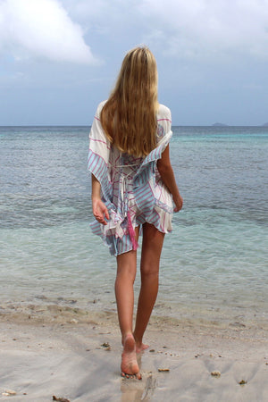 Lotty B Short Kaftan in Silk Crepe-de-Chine: BICYCLE - PINK back Mustique beach