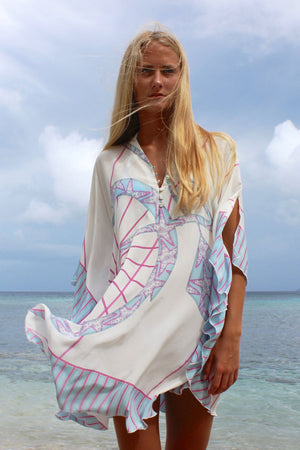 Lotty B Short Kaftan in Silk Crepe-de-Chine: BICYCLE - PINK windy Mustique beach