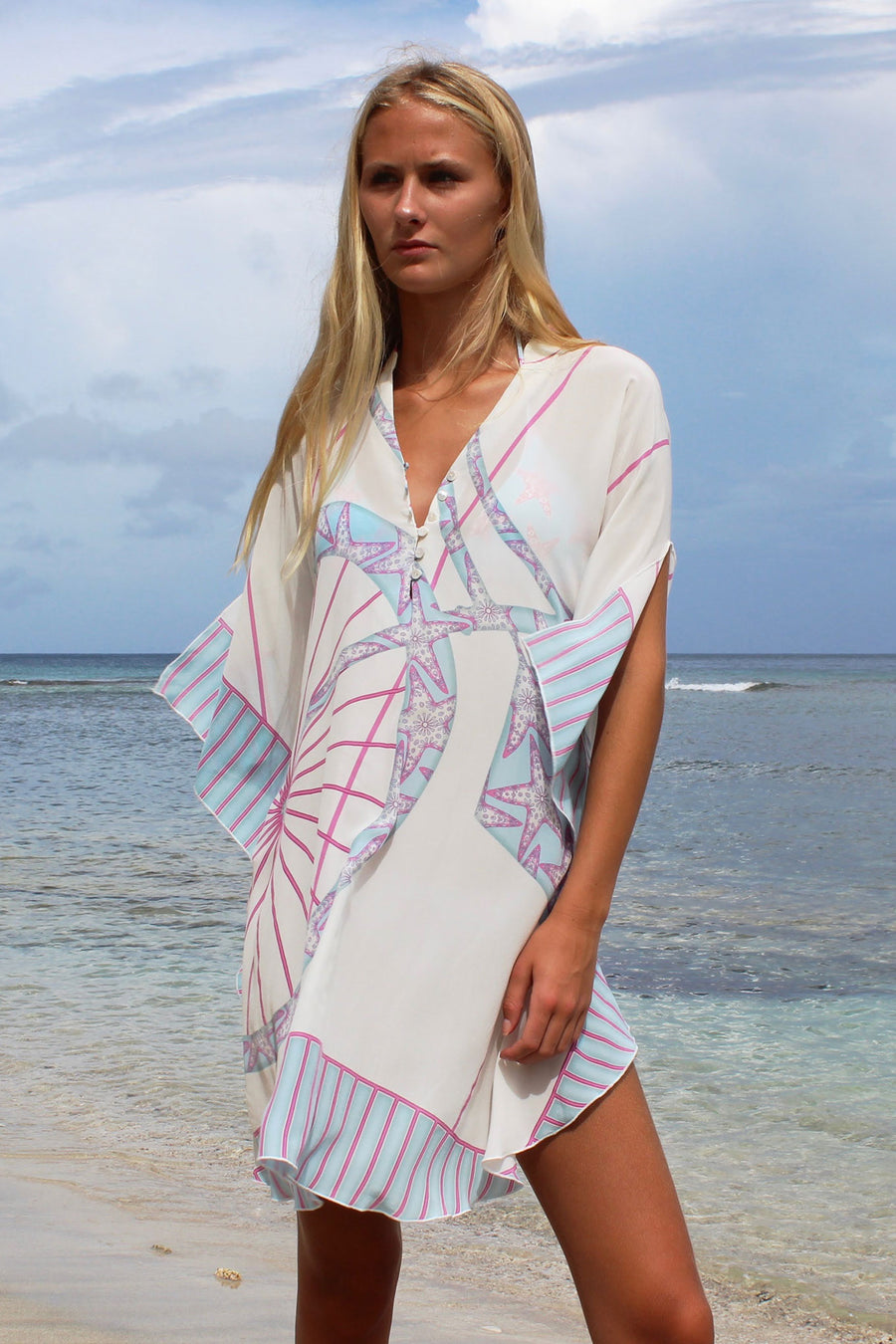 Lotty B Short Kaftan in Silk Crepe-de-Chine: BICYCLE - PINK walking Mustique beach