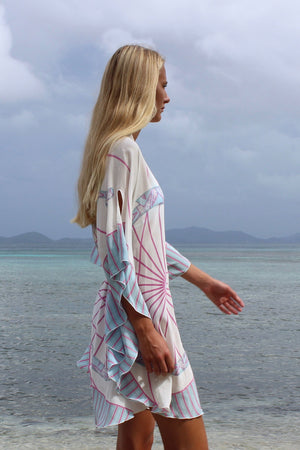 Lotty B Short Kaftan in Silk Crepe-de-Chine: BICYCLE - PINK side Mustique beach