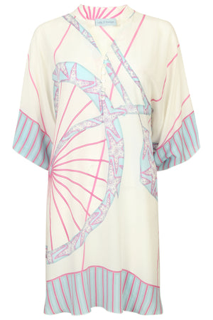 Lotty B Short Kaftan in Silk Crepe-de-Chine: BICYCLE - PINK