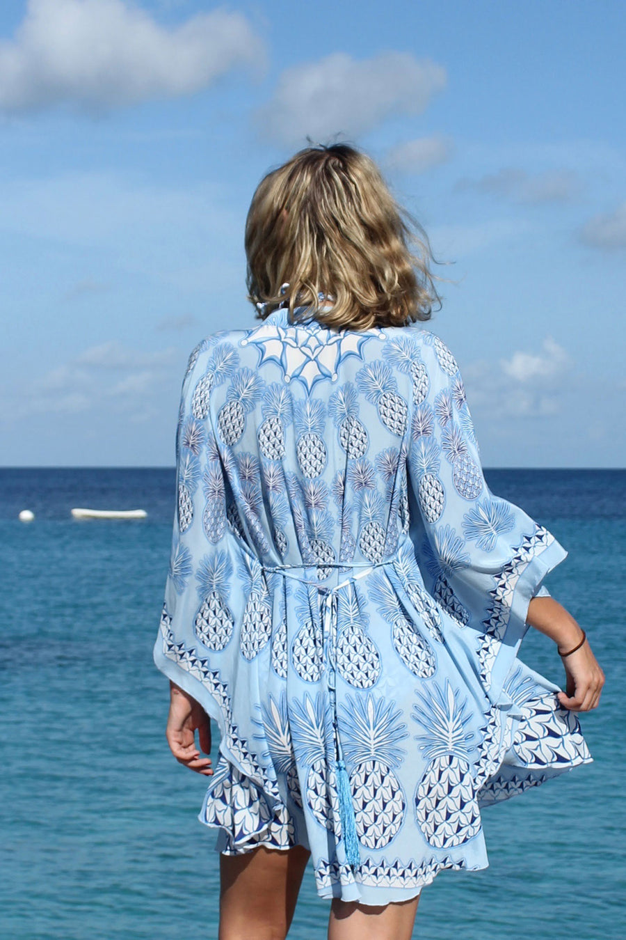 Lotty B Short Kaftan in Silk Crepe-de-Chine: PINEAPPLE - BLUE sitting Mustique