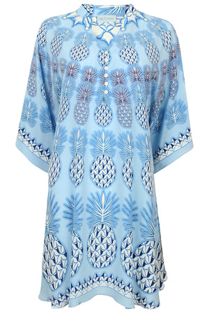 Lotty B Short Kaftan in Silk Crepe-de-Chine: PINEAPPLE - BLUE