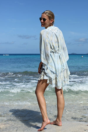 Lotty B Short Kaftan in Silk Crepe-de-Chine: PINEAPPLE - OLIVE side laughing Mustique