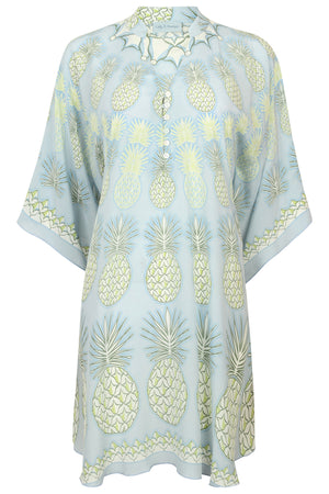 Lotty B Short Kaftan in Silk Crepe-de-Chine: PINEAPPLE - OLIVE