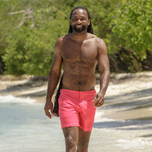 Mens Beach Shorts (Faded Red) Mustique life