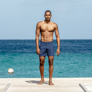 Mens Beach Shorts : MAKO NAVY Cotton House pier Mustique