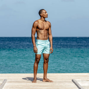Mens Beach Shorts : MAKO TURQUOISE, Mustique lifestyle
