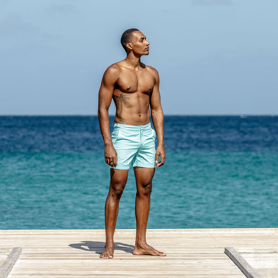 Mens Beach Shorts : MAKO TURQUOISE designer Lotty B for Pink House Mustique