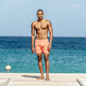 Mens Beach Shorts (Orange) Cotton House Pontoon Mustique