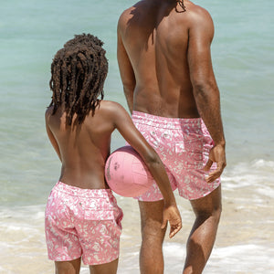 Mens Trunks (Hibiscus, Pink) Mustique beaches