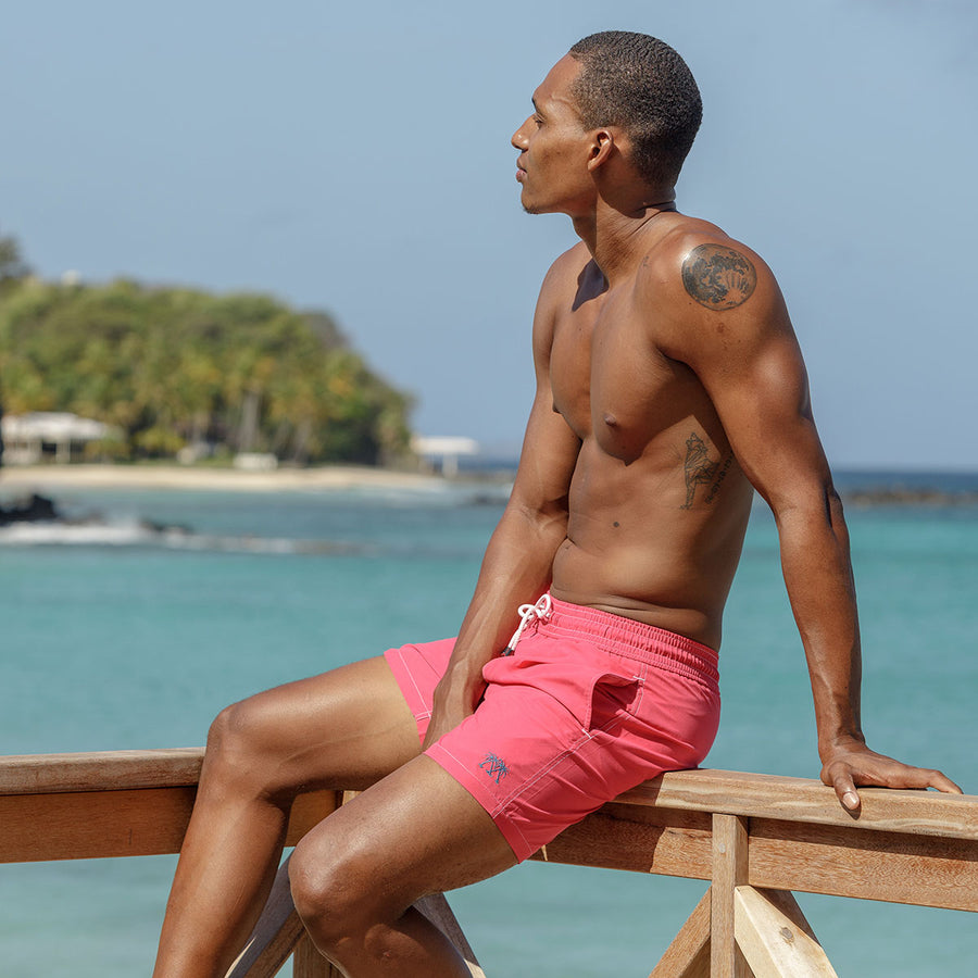 Mens Trunks : PLAIN - FADED RED designer Lotty B Mustique swimming shorts