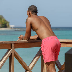 Mens Trunks : PLAIN - FADED RED designer Lotty B Mustique holiday style