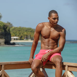Mens Trunks (Faded Red) Sitting on the dock Mustique
