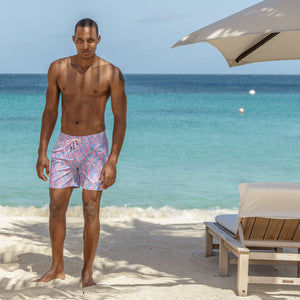 Mens Trunks (Seahorse, Blue/Pink) Mustique beach life