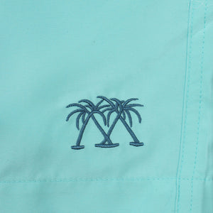 Mens Beach Shorts : MAKO TURQUOISE logo detail