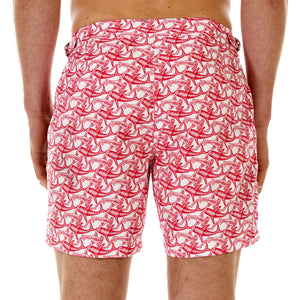 Mens Beach Shorts (Shark Faded Red) Back
