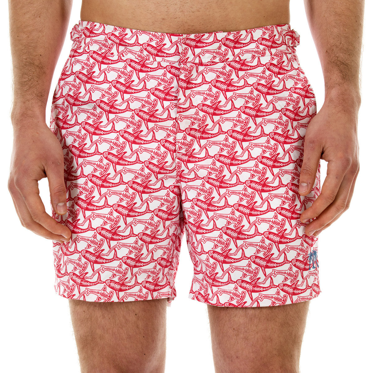 Mens Beach Shorts (Shark Faded Red) Front