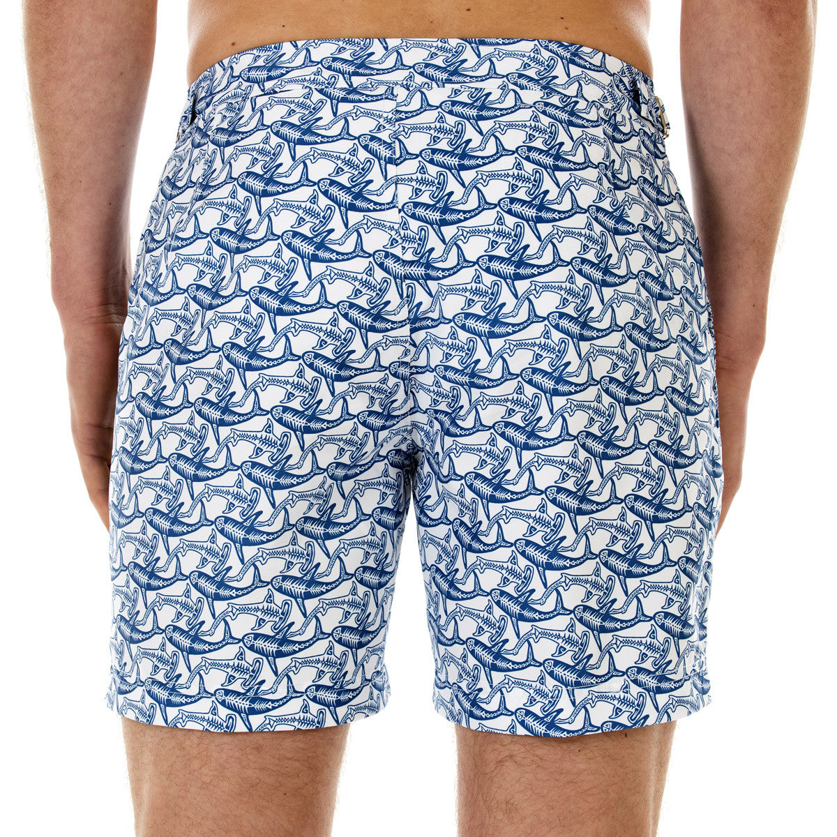 Mens Beach Shorts (Shark Navy) Back