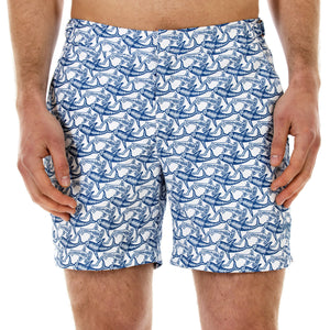 Mens Beach Shorts (Shark Navy) Front