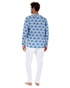 Mens Collarless Linen Shirt : FAN PALM NAVY / PALE BLUE with white linen trousers back