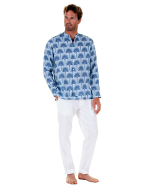 Mens Collarless Linen Shirt : FAN PALM NAVY / PALE BLUE with white linen trousers front