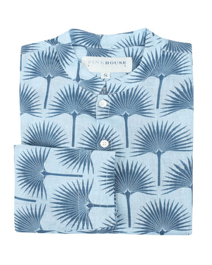 Mens Collarless Linen Shirt : FAN PALM NAVY / PALE BLUE