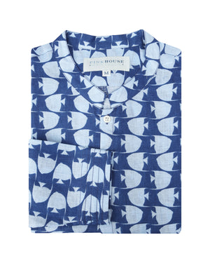 Mens Collarless Linen Shirt : FISH - AIRFORCE BLUE. Designer Lotty B for Pink House Mustique