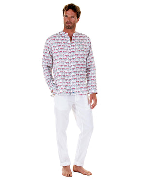 Mens Collarless Linen Shirt : MUSTIQUE MULE red with white linen trousers, front