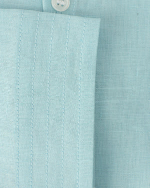 Mens Collarless Linen Shirt : PALE BLUE. Designer Lotty B for Pink House Mustique. Cuff detail