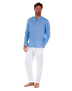 Mens Collarless Linen Shirt : FRENCH BLUE with white linen trousers, front