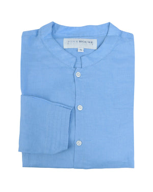 Mens Collarless Linen Shirt : FRENCH BLUE. Designer Lotty B for Pink House Mustique
