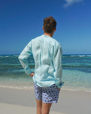 Mens Collarless Linen Shirt : PALE BLUE Mustique Beach Style