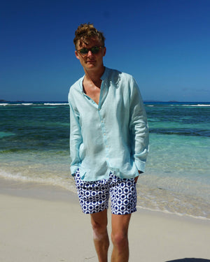 Mens Collarless Linen Shirt : PALE BLUE. Designer Mens holiday wear
