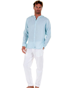 Mens Collarless Linen Shirt : PALE BLUE. Designer Mens casual wear